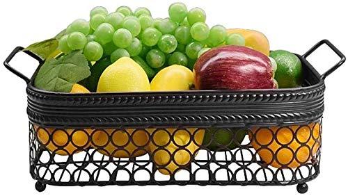 CDKET Frutero de 2 Niveles Frutero Negro Estilo Vintage Cesta de Fruta de Metal sobre encimera Mantiene Las Frutas y Verduras frescas-27x37cm Stil C