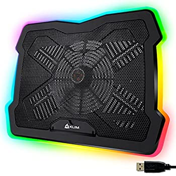 KLIM Ultimate + RGB Laptop Cooling Pad with LED Rim + Gaming Laptop Cooler + USB Powered Fan + Very Stable and Silent Laptop Stand + Compatible up to 17  + for PC Mac PS4 Xbox One + New 2021
