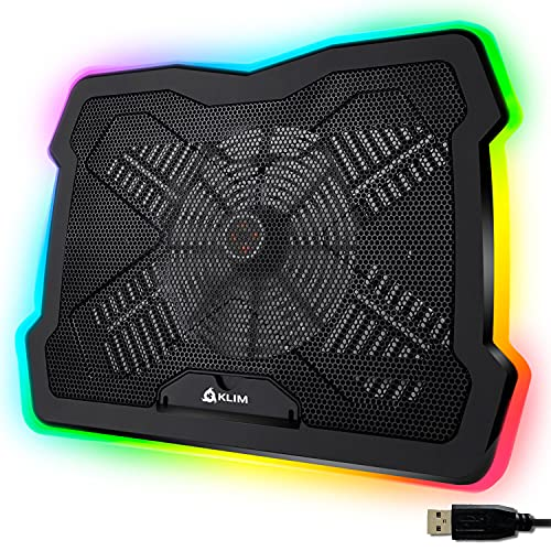 KLIM Ultimate + Base de refrigeración para portátiles RGB - 11' a 17' + Refrigeración para portátil Gaming + Nueva 2021 + Ventilador USB + Estable y silenciosa + Compatible con Mac y PS4