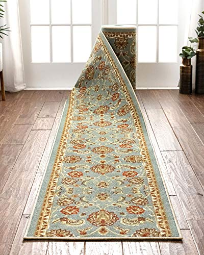 Well Woven Custom Size 22' Wide by Select Your Runner Length Non-Slip Rubber Backed Machine Washable Hall Rug Timeless Oriental Blue Indoor Outdoor Kitchen Entry Thin Low Pile 22' x5' Runner