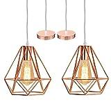 iDEGU - Lote de 2 lámparas de techo modernas, lámpara de techo, diseño de jaula de metal, decoración de iluminación para dormitorio, salón, comedor, color oro rosa (20 cm)