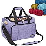 HOMEST Yarn Bag Organizer, Crochet Organizers for Knitting Accessories, Large Capacity for Hooks, Needles and Yarn Skeins, Knitting Storage with Visual Panel on Top, Purple (Patent Pending)