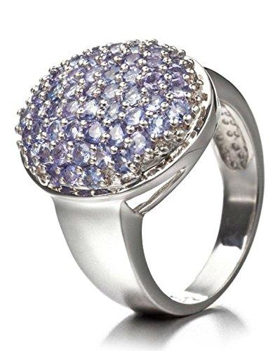 Silvancé - Anillo de mujer - plata esterlina 925 bañada en rodio - auténtico piedras preciosas: Tanzanite ca. 1.62ct. - R3711TAN_SSR / Gr. 60 (19.1)