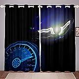 Cortinas para ventanas de coche de carreras, para niños, deportes, para adolescentes, adultos, para decoración de dormitorio, color azul, 46 x 182 cm