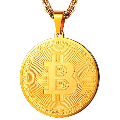 PROSTEEL Bitcoin Digital Pendant Chain Necklace Cryptocurrency Crypto World Money 18K Gold Plated Bitcoin Simbol Necklace for Men Women Jewelry