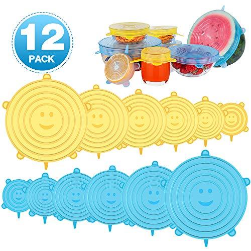Newdora Silikondeckel Stretch, Silikon Dehnbare Deckel, 12er Silikon Stretch Deckel in Verschiedenen Größen, BPA Frei, Sicher & Gesund für Schüsseln, Becher, Dosen, Obst(Himmelblau/Gelb)