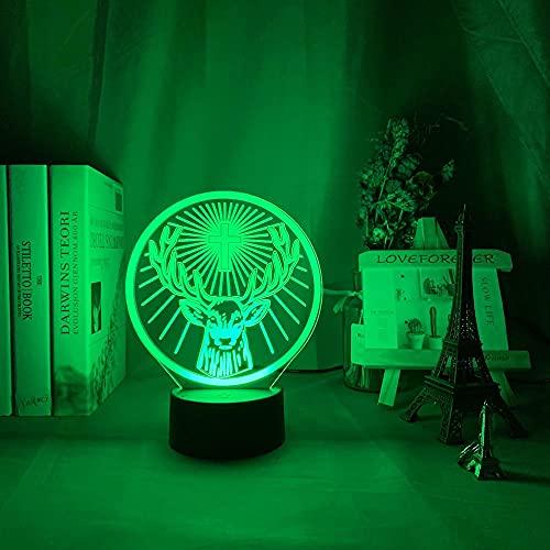 Luces de anime LED 3D, lámpara de luz nocturna LED Jagermeister 16 colores cambiantes sensor táctil USB y luz nocturna alimentada por batería, barra lámpara de mesa LED luces de noche