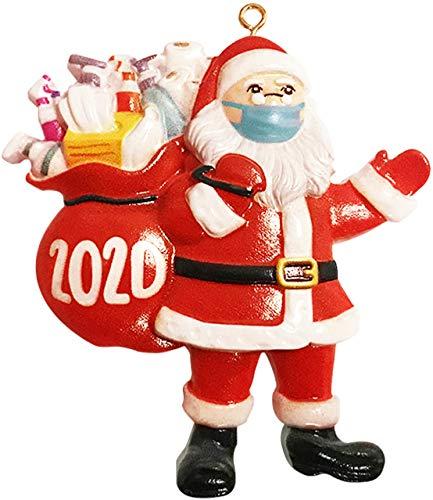 B-Qtech 2020 Christmas Ornament,, Santa Claus Wearing Face Mask and Carring Gift Bag, Christmas Tree Decorations Hanging Pendant Decor Xmas Creative Gift