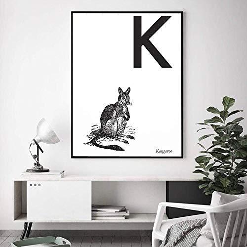 Leinwanddruck,Känguru Kostenlose Kombination Drucke Und Drucke Tierdruck Buchstaben K Leinwand Malerei Wand Ungerahmt Für Büro Wohnzimmer Wohnkultur, 20X30Cm Ungerahmt