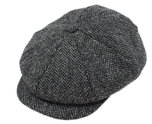 Peaky Blinders Hat Newsboy Style Cap Made in Ireland Fuller Fit Wool Tweed L Grey