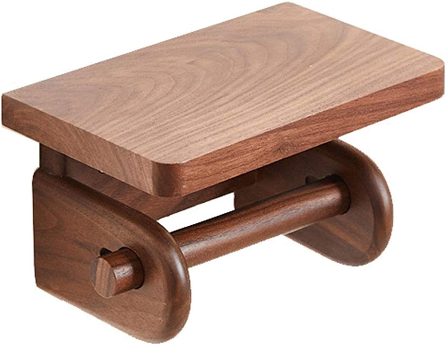 ZHANWEI Bathroom Shelf Shower Organiser Paper Towel Holder Wall-Mounted Wood Phone Stand Multifunction Punch Walnut color (color   190x120x115mm)