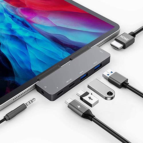 USB C HUB for iPad Pro 11/12.9 2021 2020 2018/iPad Air 4, 6in1 USB C Hub with 4K HDMI,3.5mm Headphone Jack,2 USB3.0,USB C PD Charging&Data,USB C Earphone Jack,Adapter for iPad Pro,MacBook