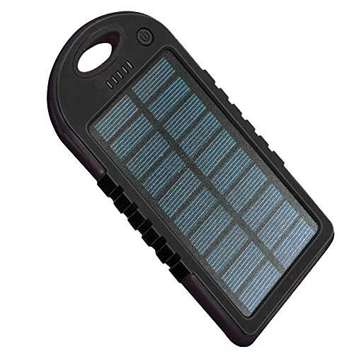 KawKaw Solar-Powerbank mit 5000 mAh und Karabiner geeignet für Outdooraktivitäten Dank Solarpanel zum Aufladen von Smartphones und Tablets (Schwarz)