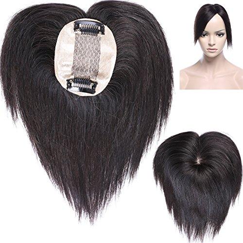 6' Human Hair Topper Toupet Capelli Donna Extension Capelli Veri Clip Volumizzante Hairpiece Remy Human Hair Silk Base Mono Top 6cm x 9cm Corti, 1B Nero Naturale