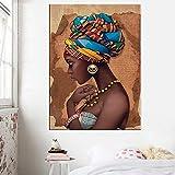 ganlanshu Lienzo Africano Pintura de Pared e impresión Mujer Negra sobre Lienzo decoración de la Pared del hogar Imagen Sala de Estar,Pintura sin Marco,45x67cm