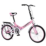 LYBOHO 20in Foldable Bicycle for Adult, Folding City Bike with Back Seat Aluminum Frame Bicycles Adult Student Ultra-Light Portable Women's City Mountain Cycling [Fast Delivery from The U.S.] (Pink)