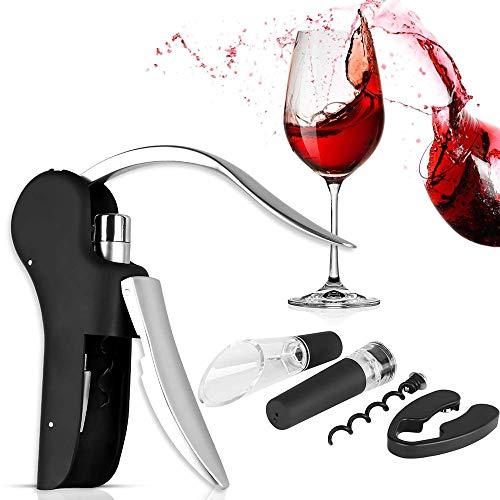 WYSD Manuelles Weinflaschenöffner-Kit, 5-in-1-Korkenzieher mit vertikalem Hebel und Folienschneider, zusätzliche Spirale, Vakuum-Weinstopper, Weinausgießer