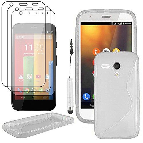 ebestStar - Cover Compatibile con Motorola Moto G, XT1032 Custodia Protezione S-Line Silicone Gel Morbida +Mini Penna +3 Pellicole plastica, Trasparente [Apparecchio: 129.9x65.9x11.6mm, 4.5'']
