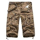 YLBH Pantalones Recortados Pantalones Multibolsillos para Hombres SeñAles De DireccióN Pantalones Sueltos Casuales para Hombres Pantalones Cortos Recortados Leisure Casual Brown 33