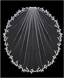 HXSD Wedding Veils Bridal Accessories White Ivory Elbow Length with Comb Appliques Lace Bridal Veils 2020 New (Color : Ivory, Item Length : 75cm)