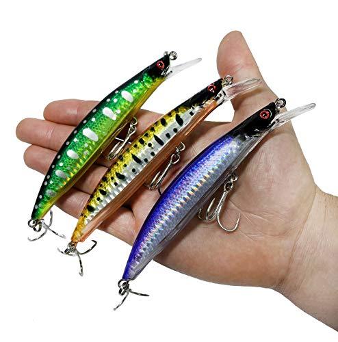 Esche da pesca Spinning – Minnow Spinning Lubina – Esche galleggianti artificiali – Cebos Lucio Black Bass Lubina – Pesca pantano e mare – 13 cm e 23 grammi