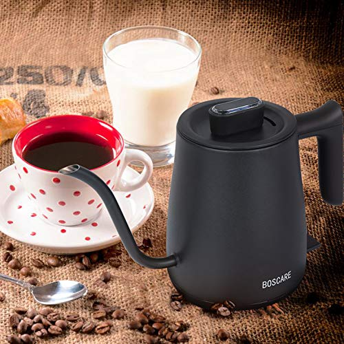 BOSCARE Electric Gooseneck Kettle for Drip Coffee and Tea, Stainless Steel Pour Over Coffee Teapots Kettle, Auto Shut Off and Boil-Dry Protection,0.6L,1000W,Matte Black,KE4088-UL