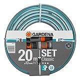 Gardena 18004-20 - Manguera Classic (1/2'), 20m con accesorios. Manguera Classic (1/2'), 20 m + lanza + accesorios, gris, azul