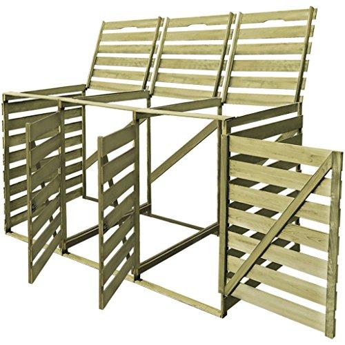Festnight Outdoor Mülltonnenbox Mülltonnenverkleidung Mülltonnenschrank aus Impr?gniertes Holz für 3 Tonnen 240 L Müllcontainer