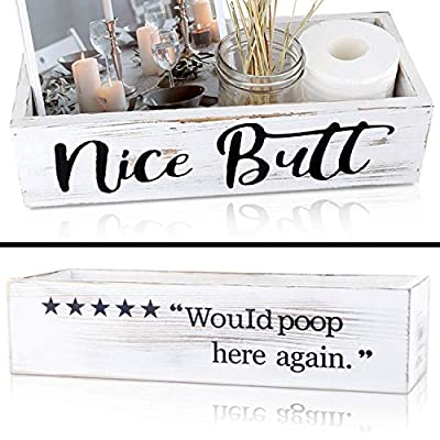 joere Nice Butt Bathroom Decor Box, Wooden Funny Signs Farmhouse Toilet Paper Holder for Storage, Cute Country Rustic Bathroom Accessories for Home Decoration (White)