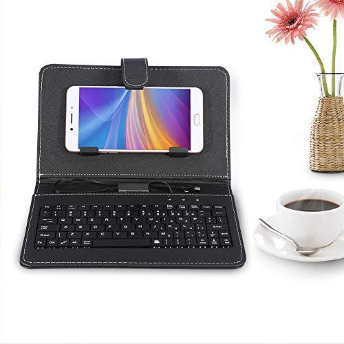 Universale Tastiera per Telefono Cellulare - con Custodia In Pelle PU - Telefono Custodia Protettiva Cover con Staffa Supporto - Tastiera USB Cablata Per Android Telefono(Nero)