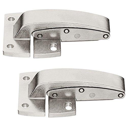 Gedotec Klappen-Scharnier zum Schrauben Mittelscharnier für Klappenbeschläge Senso | Mittelband für Klappen aus Holz | Stahl vernickelt | 2 Stück - Möbelscharnier für Kesseböhmer & Häfele Beschläge