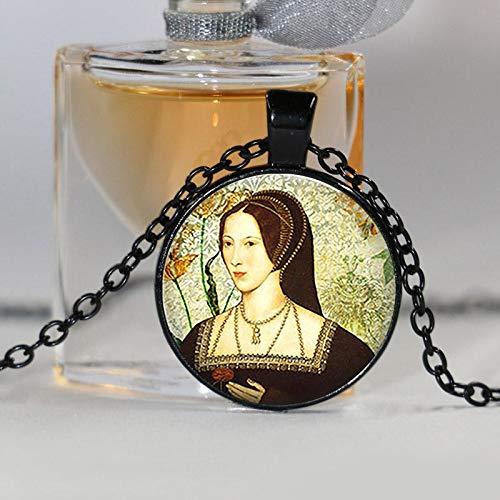 Art Picture Anne Boleyn Ciondolo Retrò Rotondo Tudor Cupola di Vetro Ciondolo Donna Ragazza Moda Gioielli Regalo di Natale Catena Lunga