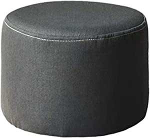 LIXIONG Outdoor Ottomans Footstools Household Solid Wood Solid Color Portable Sofa Stool Concealed Universal Wheel, 4 Colors (Color : Black, Size : 29x23cm)