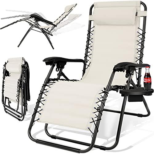 KESSER® - Sonnenliege Liegestuhl Mit Getränkehalter | Verstellbar Rückenlehne...