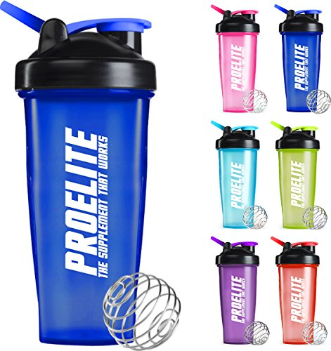 PROELITE Protein Shaker Water Bottle 600ml to 700ml Unisex Mixball Water Diet Shake Mixer Cup 4 Whey Protein Creatine BCAA Weight Gainer (Red)