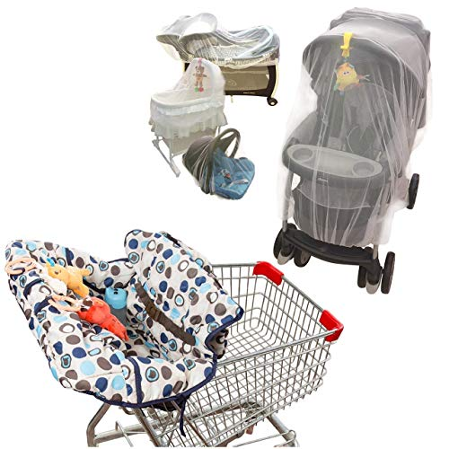 Mosquito Net for Baby Stroller and Multi-Purpose Shopping Cart -High Chair Cover Bundle Pack
