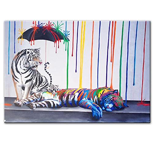 Pintura en lienzo tigre graffiti arte pintura moderno abstracto calle lienzo arte imagen decoración para el hogar 40x60cm / 15.7 'x23.6' (NoFrame)