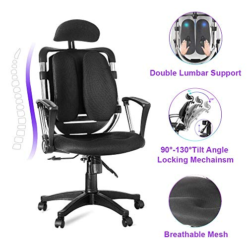 Ergonomic Adjustable Office Chair Mesh Lumbar Support High-Back Executive Swivel Home Computer Desk Chair with Armrest