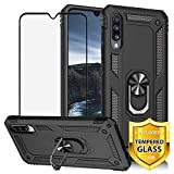 TJS Phone Case for Samsung Galaxy A50 2019, with [Full Coverage Tempered Glass Screen Protector][Impact Resistant][Defender][Metal Ring][Magnetic Support] Heavy Duty Armor Protector Cover (Black)