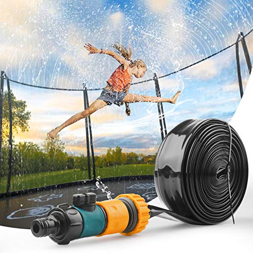 Trampoline Sprinkler for Kids - Outdoor Trampoline Accessories Backyard Water Park, Summer Trampoline Water Sprinkler for Kids and Adults, 39FT Long for Water Play, Games
