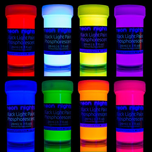 Premium Glow in The Dark Paint Set by neon nights – Set of 8 Professional...