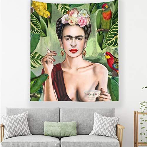 Frida Kahlo Et Tapisserie De Fleurs, Les Femmes Fumantes avec Le Café Mexico Femmes Peintre Mural Tapisserie Figure Portrait Décor Décor Dortoir-b 100x70cm(39x28inch)