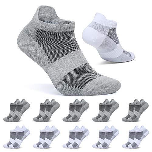 FALARY Sneaker Socken Herren 43-46 Kurze Socken Damen Weiß Grau 10 Paar Sportsocken Baumwolle Atmungsaktive Laufsocken Unisex