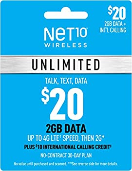 Net10 $20 Unlimited 2GB Plan Refill Card