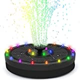 Bohoman Solarbrunnen, schwimmend, für den Außenbereich, 24 Farben, LED-Licht, Solar-Wasserpumpe, 3,5 W, mit Akku, 8 Düsen für Vogelbad, Aquarium, Garten, Teich, Brunnen (Nior)
