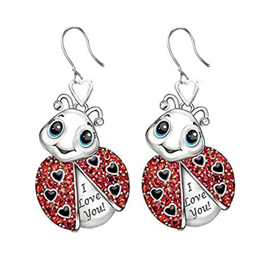 Exquisito esmalte rojo Animal Ladybug pequeños pendientes para mujeres I Love You lindo mariquita insecto Stud pendientes niñas joyería