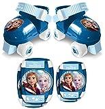 STAMP- Set Pattini a Rotelle, C/Ginocchiere, Frozen II Anna, Elsa, RN244035, Blu