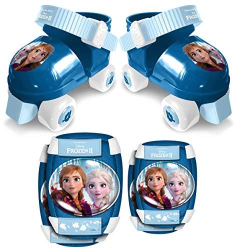 Stamp- Set Patins à roulettes, C/Genouillères, LA Reine des NEIGES II Disney Anna, Elsa, RN244035, Blue & White
