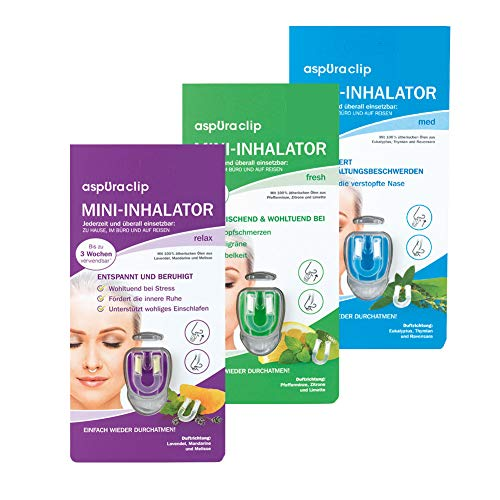 aspUraclip Mini-Inhalator mix (3er Pack) | 1x med, 1x fresh & 1x relax - Ein Duft für jede Situation - Erkältungsbeschwerden, Kopfschmerzen und Stress | Erster Mini-Inhalator für die Nase