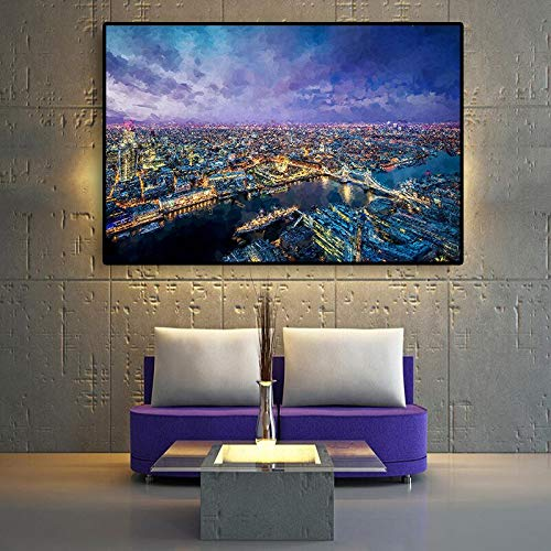 hetingyue Londoner Stadtlandschaft Nordic Nordic Ölgemälde Poster und Leinwanddrucke Wohnzimmer Wandbilder 40x60cm